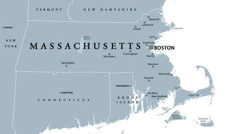 Massachusetts, gray political map, with capital Boston. Commonwealth of Massachusetts, MA. Most populous state in the New England region of United States. The Bay State. English. Illustration. Vector.