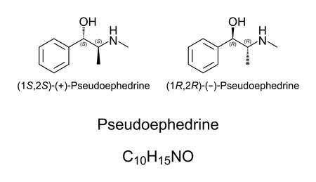Pseudoephedrine, chemical structure. A decongestant and stimulant. Illicitly used by athletes and truck drivers as doping agent to increase their state of alertness and awareness. Illustration. Vector