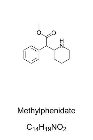 Methylphenidate, MP, chemical structure. Stimulant and medication, used in the treatment of ADHD and narcolepsy. Combined with amphetamine it leads to an enhanced performance. Illustration. Vector.
