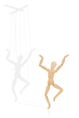 Happy puppet, but covertly dependent on a marionette control bar in the shadow - symbolic for to be led from behind, for manipulation, domination, authority, force, dependence. Vector on white. Vectores