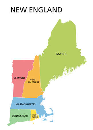 New England region, colored map. A region in the United States of America, consisting of the six states Maine, Vermont, New Hampshire, Massachusetts, Rhode Island and Connecticut. Illustration. Vector