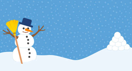 Snowman and pile of snowballs for snowball fight and winter fun. Comic vector illustration on snowflakes background.