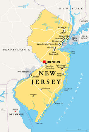New Jersey, NJ, political map with capital Trenton. State in the Mid-Atlantic region of northeastern United States of America. The Garden State. Most densely populated US state. Illustration. Vector.