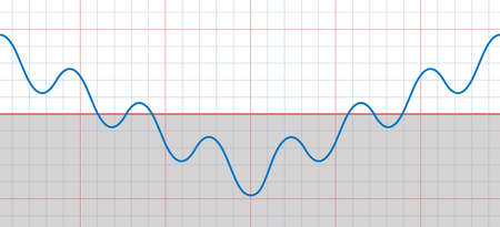 Large sine curve with many small sinusoids falling and rising - upturn after the turning point - symbolic for downward and upward trends with temporary descending phases of a development. 向量圖像