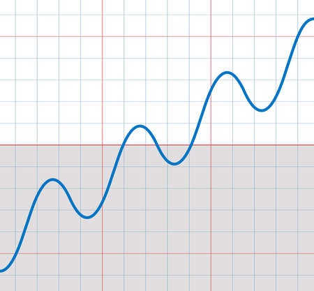 Rising sine curve with some small sinusoids falling and rising - symbolic for upward trend with temporary deceptively decreasing phases of a development.