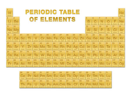 Golden periodic table of elements. Periodic table, a tabular display of the 118 known chemical elements. With atomic numbers, chemical names and symbols. English labeled. Vector illustration on white.