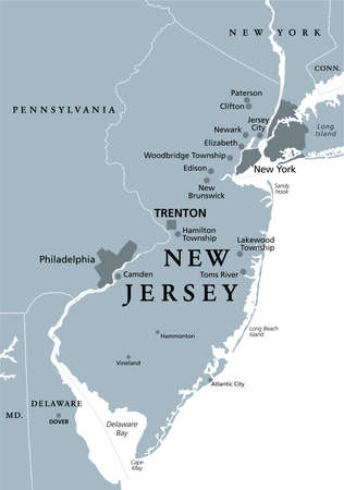 New Jersey, NJ, gray political map with capital Trenton. State in the Mid-Atlantic region of the Northeastern United States of America. The Garden State. Illustration on white background. Vector. Vektorové ilustrace