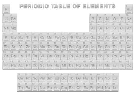 Silver periodic table of elements. Periodic table, a tabular display of the 118 known chemical elements. With atomic numbers, chemical names and symbols. English labeled. Vector illustration on white.