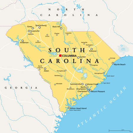 South Carolina, SC, political map, with the capital Columbia, largest cities and borders. State in the southeastern region of the United States of America. The Palmetto State.  Illustration. Vector.