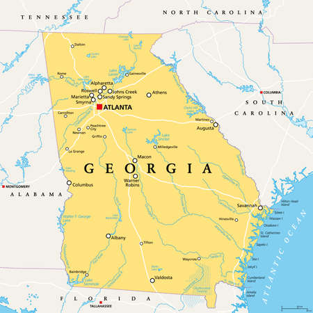Georgia, GA, political map, with capital Atlanta and largest cities. State in the southeastern region of the United States of America. Peach State. Empire State of the South. Illustration. Vector.