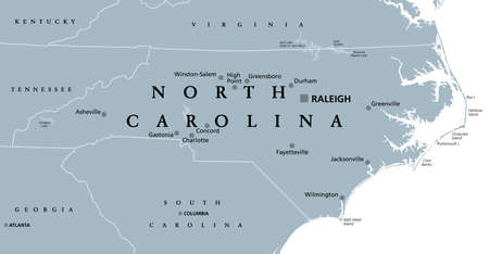 North Carolina, NC, gray political map. With capital Raleigh and largest cities. State in the southeastern region of the United States of America. Old North State. Tar Heel State. Illustration. Vector