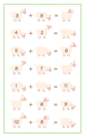 Addition game sheet, simple math fun with comic sheep. Isolated vector illustration on white background.