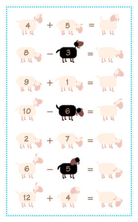 Math game sheet with additions and subtractions, simple mathematical fun with black sheep. Isolated comic vector illustration on white background.