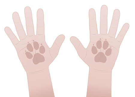 Slap hands, dog. Give me five symbol with human hands and dogs paw prints. Vector comic illustration on white background.