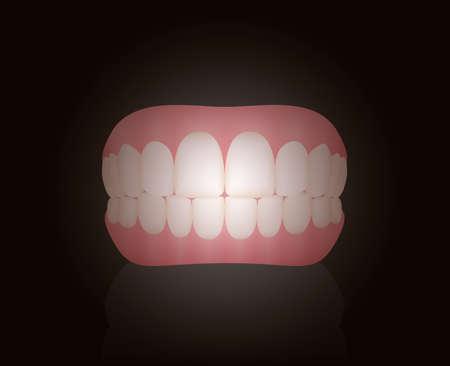 False teeth, dentures. Isolated vector illustration on black background.