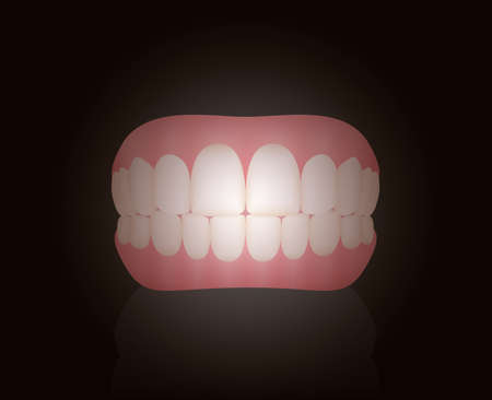 False teeth, dentures. Isolated vector illustration on black background.