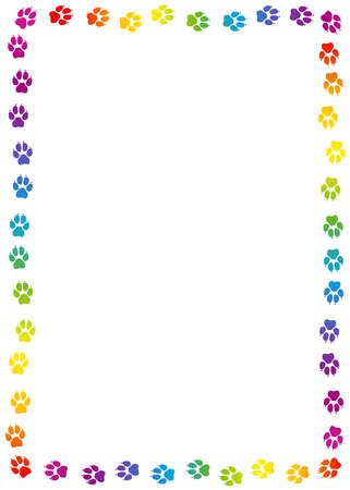 Dogs paw print frame. Rainbow colored dog track, colorful footprints. Isolated vector illustration on white background.