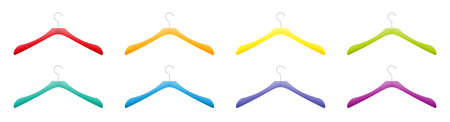 Colored plastic clothes hanger collection, different colors, red, orange, yellow, green, blue, purple set. Isolated vector illustration on white background. 向量圖像