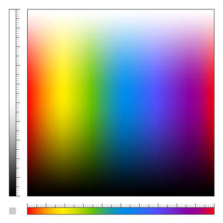 Color field with different saturation and rainbow colored gradient, spectrum of visible light, all colors of the rainbow from light to dark - square size vector illustration. Stock Illustratie