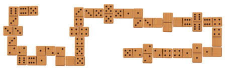 Domino line after play, complete finished game set with all 28 wooden pieces or bones. Isolated vector illustration on white background.