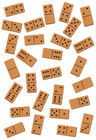 Dominos, scattered, shuffled, mixed up,loosely arranged messy set of 28 wooden tiles. Isolated vector illustration on white background.