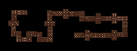 Domino line after finished play, complete game set with 28 dark brown wooden tiles. Isolated vector illustration on black background.
