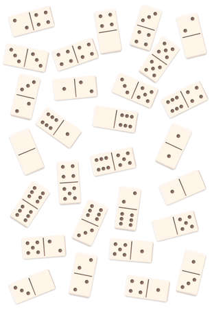 Scattered dominos, shuffled, mixed up, loosely arranged messy set of 28 white tiles. Isolated vector illustration on white background.