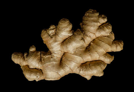 Fresh ginger root, from above on black background. Juicy and fleshy rhizome of Zingiber officinale. Used as a fragrant kitchen spice and as a folk medicine. Close-up, top view, macro food photo.