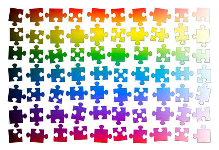 Puzzle pieces. Assorted rainbow gradient colored jigsaw puzzle pieces, but not put together yet. Isolated vector illustration on white background.  イラスト・ベクター素材