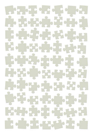Jigsaw puzzle back side. Scattered, shuffled, and assorted green cardboard pieces, but not put together yet. Isolated vector illustration on white background.