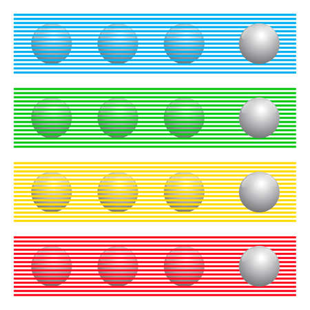 Spheres with same colors behind colored lines appear to be spheres of different colors, known as Munker-White illusion. For comparison, the balls in front of the stripes are all the same gray.
