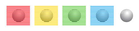 Different colored stripes seem to color the identical spheres, but they are all of the same gray. Munker-White illusion. Isolated vector illustration on white background.