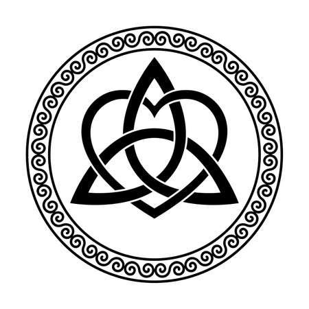 Triquetra with heart symbol, within a circular spiral frame. Celtic knot, triangular figure, used in ancient Christian ornamentation, surrounded by border, made of double spirals. Illustration. Vector