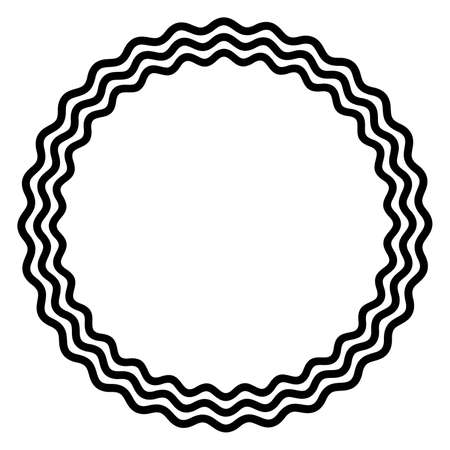Three bold wavy lines forming a black circle frame. Circle frame made by three black serpentine lines. Snake-like circular frame, decorative surround. Isolated illustration on white background. Vector
