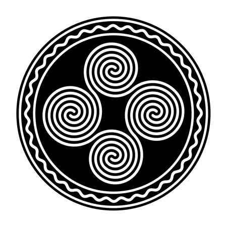 Four connected Celtic double spirals, within a circle frame with a white wavy line. Quadruple spiral, formed by four interlocked Archimedean spirals. Symbol and motif. Illustration over white. Vector.