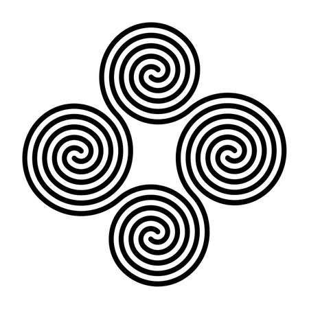 Four connected Celtic double spirals. Quadruple spiral, formed by four interlocked Archimedean spirals. Symbol and motif. Black and white, isolated illustration, on white background. Vector.