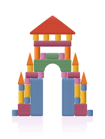 Portal, gate, thoroughfare built of wooden toy blocks. Many different natural wood elements - a typical childhood concentration game. Vector on white background.