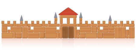 Castle wall - toy blocks building - many natural wood elements - a typical childhood concentration game. Isolated vector illustration on white background.