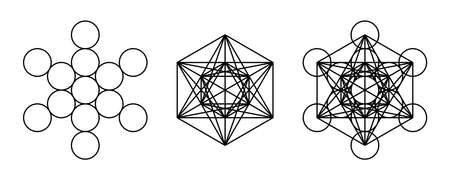 Components of Metatrons Cube. Mystical symbol, derived from the Flower of Life. All thirteen circles are connected with straight lines. Sacred Geometry. Black and white illustration over white. Vector