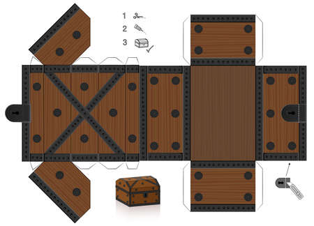 Treasure chest template. Cut out, fold and glue it. Paper model with lid that can be opened. Wooden textured box for precious objects, luxury, belongings or little things. Vektorgrafik