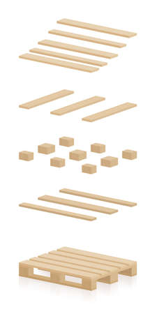 Wooden pallet components. Separate parts to construct a skid, a brand new, undamaged, intact, perfect, neat stillage. Isolated vector illustration on white background.
