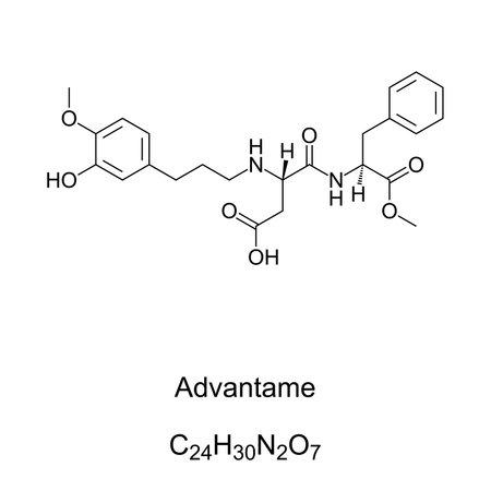Advantame, chemical formula and skeletal structure. A non-caloric artificial sweetener, sugar substitute and aspartame analog. It enhances original food flavors. E969. Illustration over white. Vector.