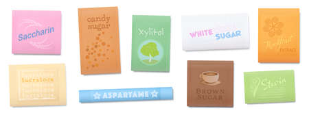 Natural or artificial sweetener, sugar substitutes with less or non calories. Saccharin, Xylitol, Sucralose, Stevia and other food additives, that enhances original food flavors. Vector on white.