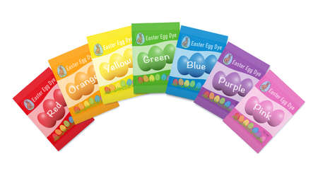 Egg dye sachets. Different colorful paper packets with red, orange, yellow, green, blue, purple and pink dye color powder. Isolated vector illusstration on white background.