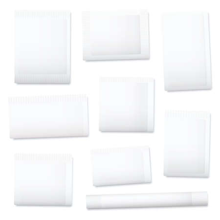 White paper sachets, unlabeled blank packaging templates for sugar, salt, tea, seeds, cosmetics, spices, powder, food ingredients etc. Isolated vector illustration on white background.