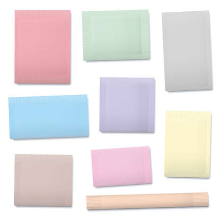Pastel colored paper sachets, blank unlabeled packaging templates for sugar, salt, tea, seeds, cosmetics, spices, powder, food ingredients etc. Isolated vector illustration on white background.