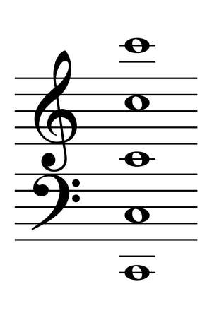 C tower, piano music notes. Learning aid, to find the C positions on the piano keyboard, shown with five whole notes. The Middle C on one position for treble clef and bass clef. Illustration. Vector. Vector Illustration