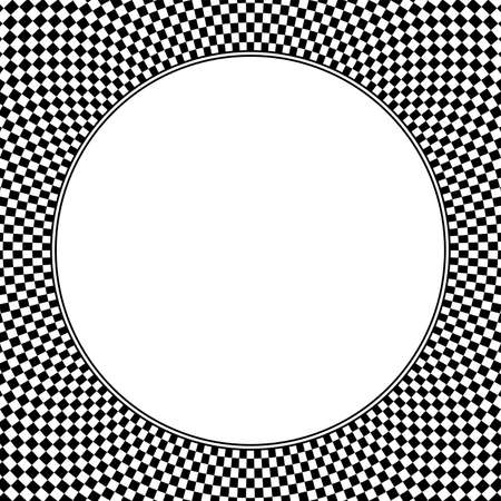 Square shaped checkerboard pattern background, with blank white circle in the middle. Checkered pattern texture, made of black and white alternating squares. Illustration on white background. Vector.
