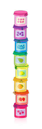 Jar of jam tower. Rainbow colored set of sweet yummy fruit jelly in screw glasses with checkered cloth covers and ribbons. Isolated comic style vector illustration on white background. Ilustração