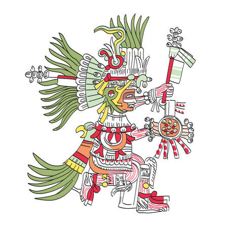 Huitzilopochtli, Aztec god, as depicted in Codex Telleriano-Remensis in 16th century. Deity of war, sun, human sacrifice, patron of Tenochtitlan, and national god of the Mexicas. Illustration. Vector.